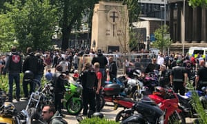 People gather peacefully at the Bristol cenotaph, today, for an All Lives Matter protest watched by Avon and Somerset police.