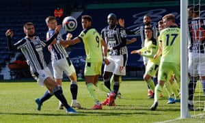 Diagne heads just wide for the Baggies.
