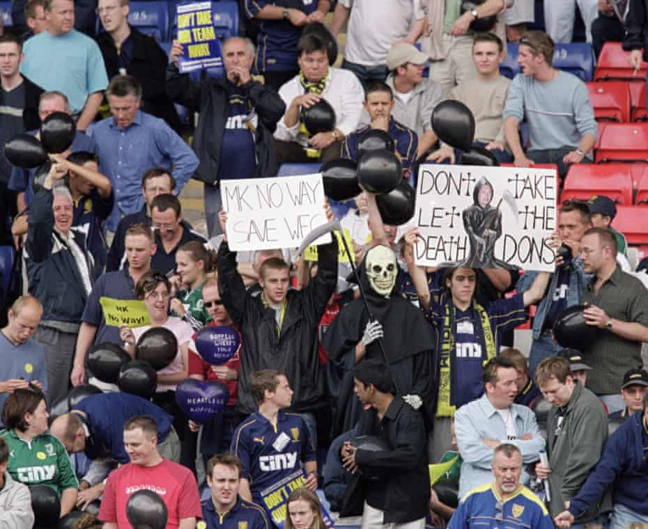 Wimbledon fans protest against the proposed move to Milton Keynes during their 3-1 win over Birmingham City at Selhurst Park in August 2001