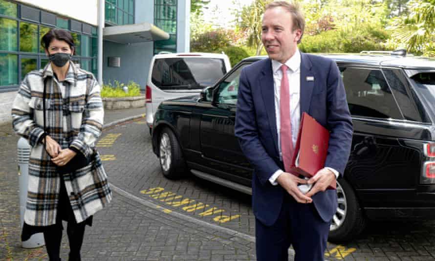Matt Hancock with Gina Coladangelo visiting the Royal Cornwall hospital in May