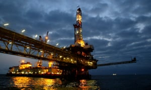 An oil offshore platform owned by the French multinational Total off the Angolan coast