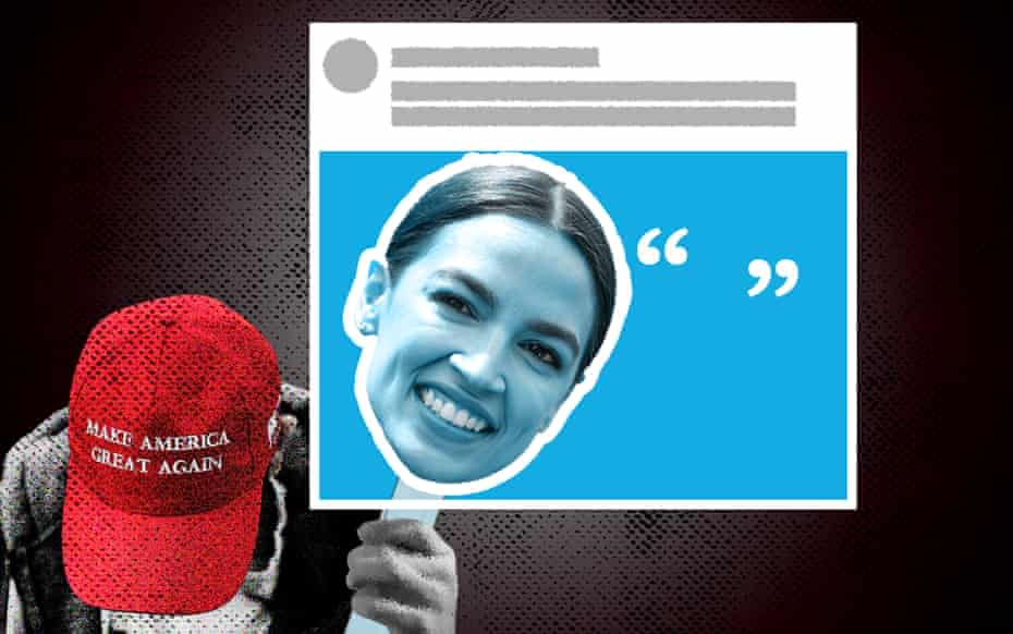 illustration of person in Trump hat holding up sign featuring AOC