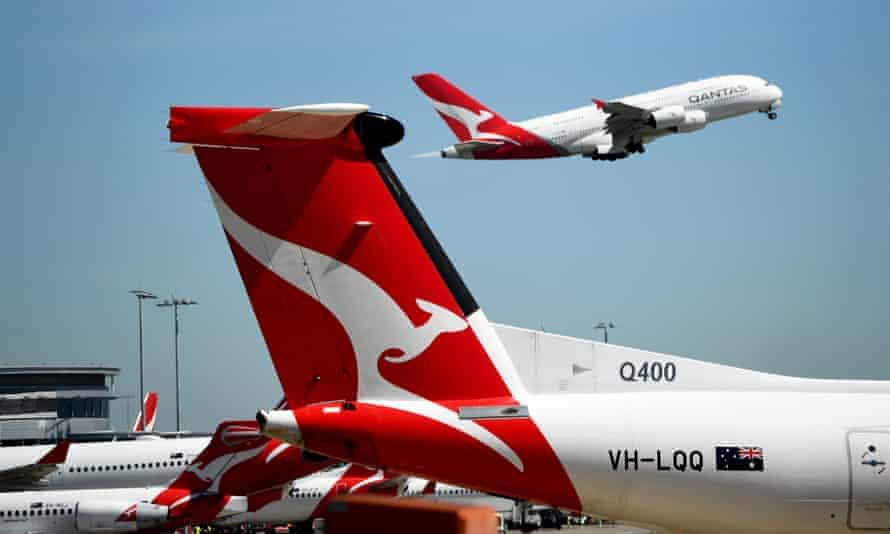 Stock image of Qantas aircraft at Sydney airport