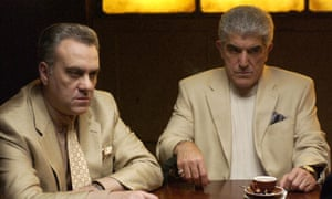 Frank Vincent as Phil, with Vincent Curatola as Johnny Sack in a 2004 episode of The Sopranos.