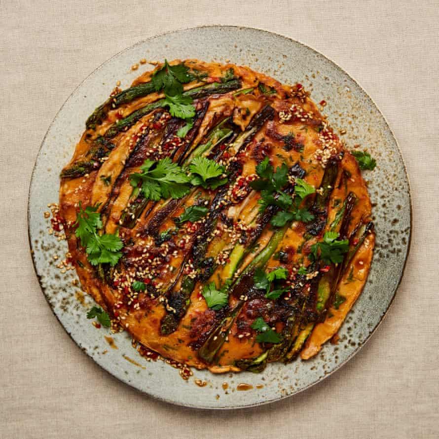 Yotam Ottolenghi's asparagus and gochujang pancakes