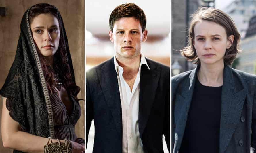 Bella Dayne in Troy: Fall of a City; James Norton as Alex in McMafia, and Carey Mulligan as Kip Glaspie in Collateral.