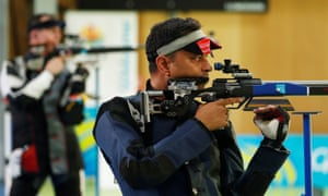 Sanjeev Rajput of India competing during the 2018 Commonwealth Games.