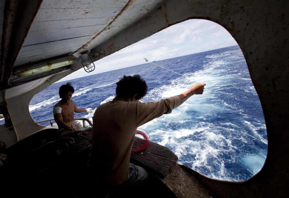 Crew members on board a Taiwanese fishing vessel set longlines.