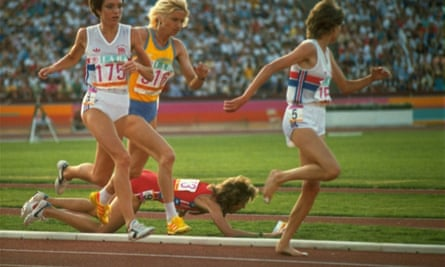 Mary Decker falls after colliding with Zola Budd, right, at the 1984 LA Olympics.