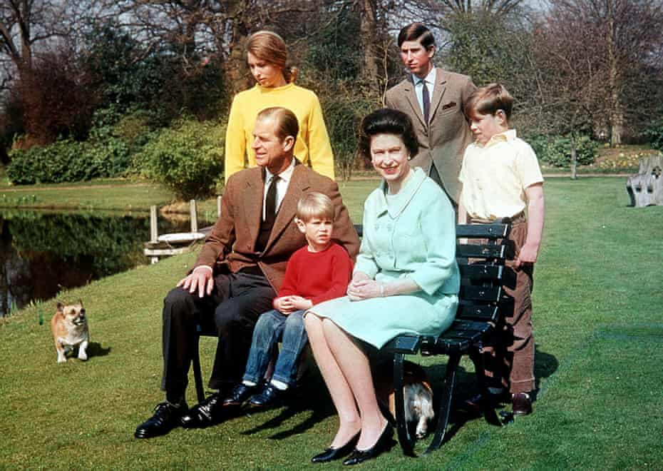 The royal family in 1968 at Frogmore, Windsor: the Duke of Edinburgh and the Queen, with Prince Edward, seated, and behind them, from left, Princess Anne, Prince Charles and Prince Andrew.