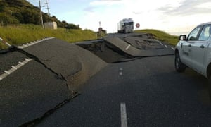 earthquake damage to State Highway