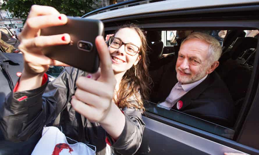Jeremy Corbyn arrives at a campaign rally in Glasgow in the last days of the campaign.