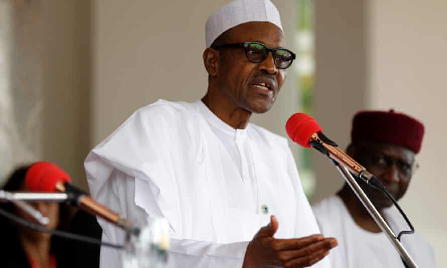 Nigerian president Muhammadu Buhari, speaking at a press conference in May.