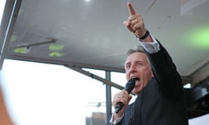 The DUP's Ian Paisley takes to the stage during The March to Leave protest in London on Friday.