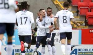 Ryan Kent (centre left) celebrates Rangers' winning goal on the opening day of the 2020-21 season.