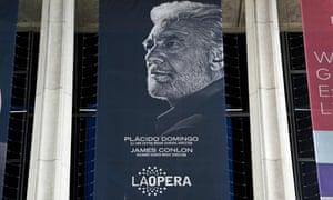 A banner showing Los Angeles Opera's general director, Plácido Domingo, at the LA Opera, 13 August 2019.
