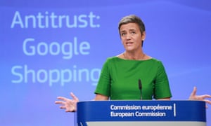 Margrethe Vestager, the European commissioner for competition, at a press conference in Brussels on 27 June 2017.