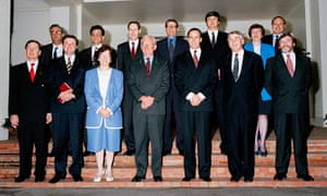 Paul Keating with members of his second cabinet