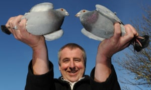 Eamon Kelly with two pigeons