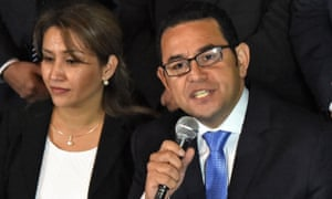 Jimmy Morales and his wife Gina after winning the Guatemalan election on Sunday.