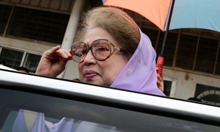 Khaleda Zia outside the court in Dhaka.