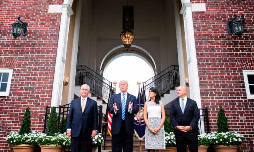 Donald Trump speaking to the press with Secretary of State Rex Tillerson, left, ambassador to the United Nations Nikki Haley and National Security Advisor HR McMaster on 11 August 2017, at Trump National Golf Club in Bedminster, New Jersey.
