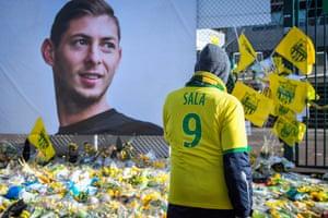 Tributes to Emiliano Sala outside Nantes' stadium in February.