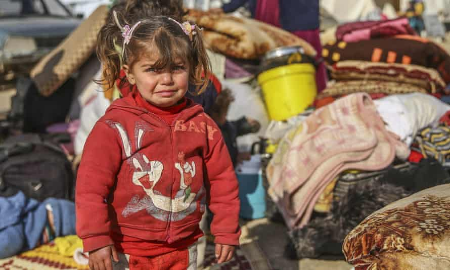 Crying girl at a refugee camp in Syria