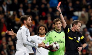 Ramos is sent off during Real Madrid's Champions League tie with Galatasaray in November 2013.
