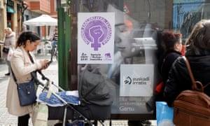 Bus stop poster announces feminist strike