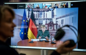 The German chancellor, Angela Merkel – seen here speaking during an international climate video conference on Tuesday – has stressed the importance of keeping the Covid-19 reproduction rate below one.