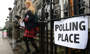 A young voter leaves a polling station in Edinburgh during the Scottish referendum in September 2014