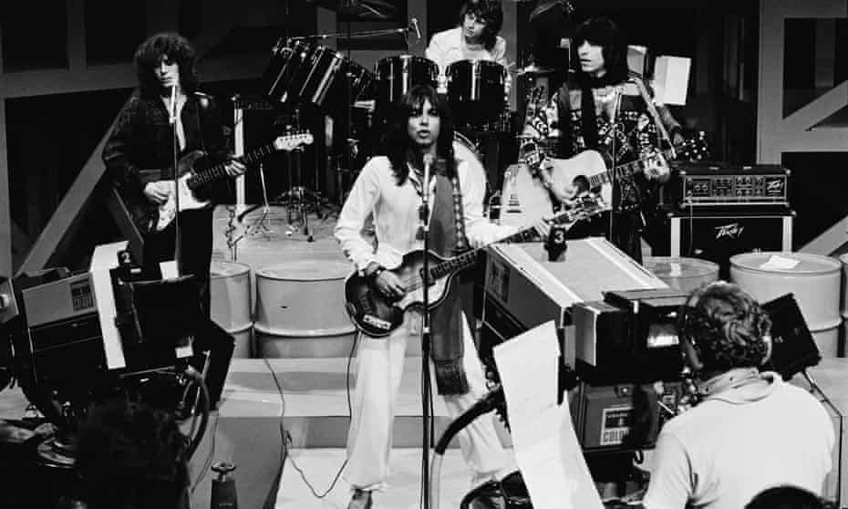 Alan Merrill, centre, performing with his band the Arrows on their weekly Granada TV show in 1976.