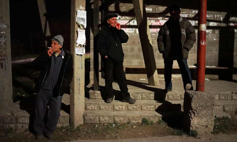 Tatar men on patrol to keep outsiders out of their neighbourhood in Bakhchisarai in 2014.
