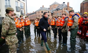 David Cameron meets soldiers working on flood relief in York