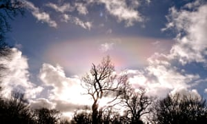 Atmospheric conditions creating the curious mother-of-pearl light phenomenon, seen from Wenlock Edge.