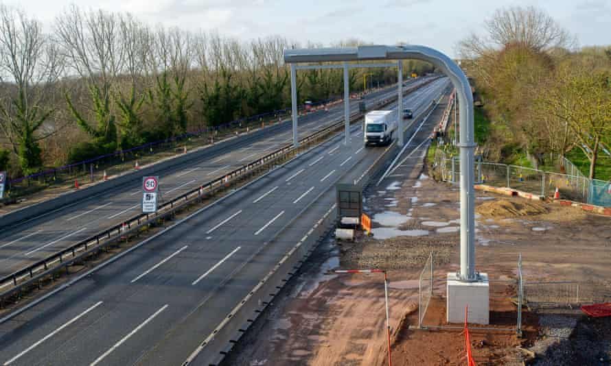 Smart motorway work being carried out on the M4 at Bray, Berkshire