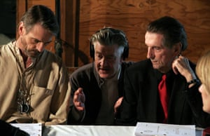 Jeremy Irons, David Lynch and Harry Dean Stanton on the set of  Inland Empire, 2006