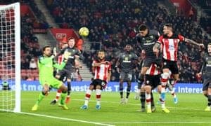 Danny Ings powers home a header to open the scoring during Southampton's 2-1 win over Norwich City at St Mary's Stadium.