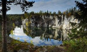 Marble canyon Ruskeala, Karelia.