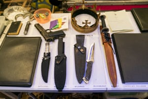 Props table backstage during the dress rehearsal of Richard lll at  Bristol Old Vic