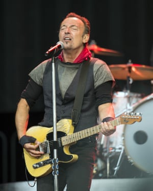Familiar with the badlands ... Bruce Springsteen performing at the Ricoh Arena, Coventry, 3 June 2016.