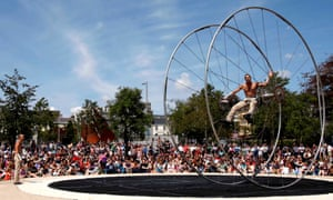 Acrobats perform at the Galway international arts festival