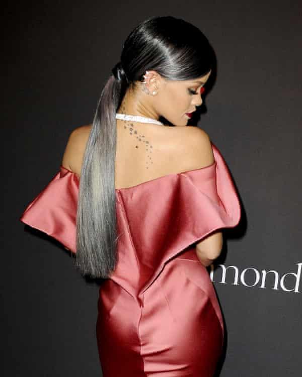 Rihanna with grey hair.