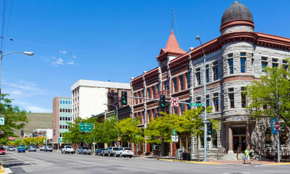 View down N Higgins Avenue at the intersection with Main Street in historic downtown Missoula, Montana, USA