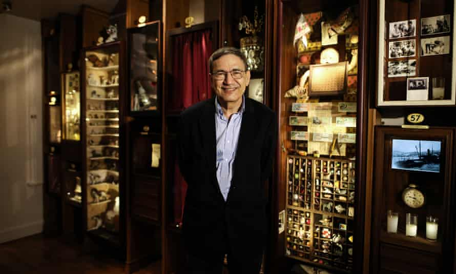 Orhan Pamuk in the real Museum of Innocence in Istanbul, Turkey, in 2020, inspired by his 2008 novel.