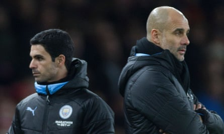 Pep Guardiola, right, said of his assistant Mikel Arteta: 'He is talking with Arsenal so I don't know what's going to happen.'