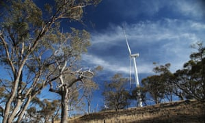 Wind turbines are seen on a hill on April 18, 2013 in Waterloo, Australia.