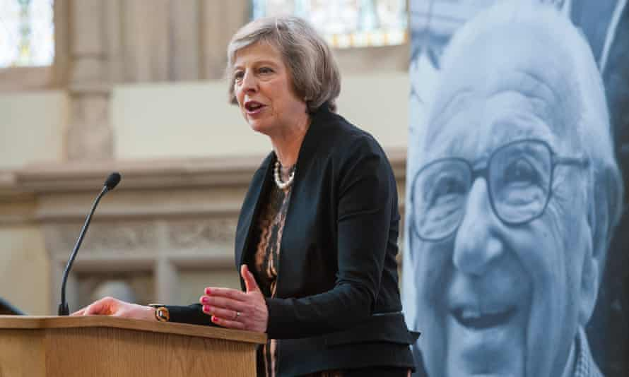 Theresa May speaking at a memorial service for Sir Nicholas Winton in May 2016