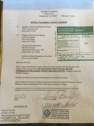 Cliven Bundy sent the letter to the local sheriff, Oregon governor Kate Brown and the White House.